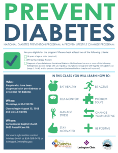 Diabetes Prevention Series @ Consolidated Baptist Church | Lexington | Kentucky | United States